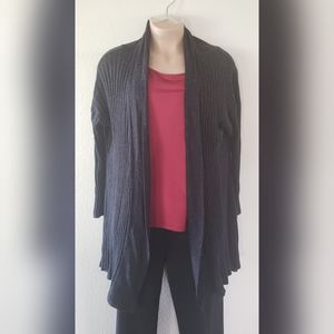 LANE BRYANT Gray Ribbed Duster Cardigan Open Front